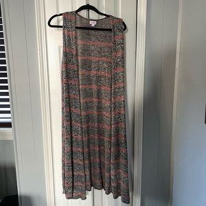 Lularoe Joy Striped Sleeveless Cardigan